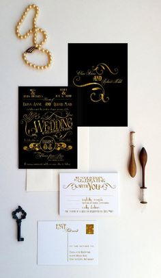 Gatsby Wedding Invitations  Art Deco wedding by DesignedWithAmore