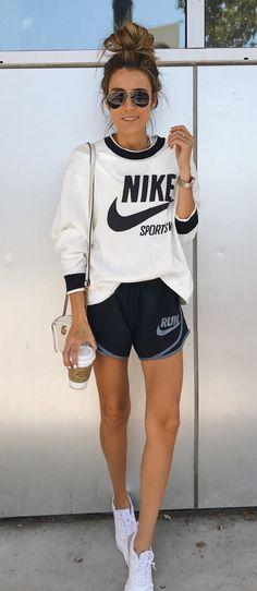 white and black #Nike long-sleeve #shirt