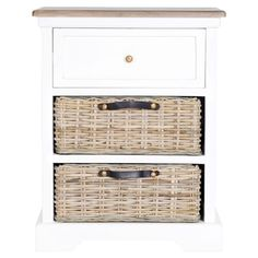 Side table in white with one drawer and two removable woven baskets.   Product: Side tableConstruction Material: ...