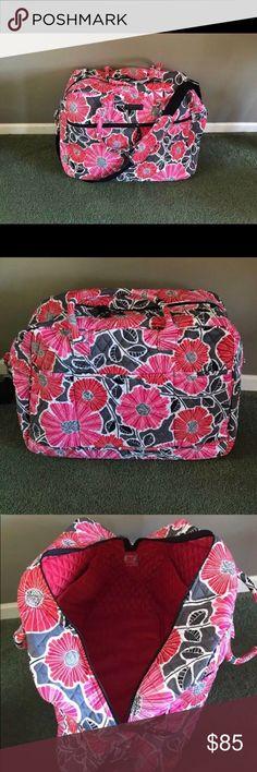 Vera Bradley Grand Traveler- cherry blossom Pink, white, and grey used once then never again originally $125 Vera Bradley Bags Travel Bags