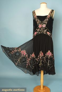 evening dress, pink and crystal rhinestones in butterfly and blossom pattern, augusta-auction.com