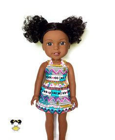 Dress, Spaghetti Strap, Aztec, Tribal, Turquoise Blue, Pink, Black, 14.5, 14 inch Doll Clothes, Wellie Wishers, Summer by JoDeePetites on Etsy https://www.etsy.com/listing/549049413/dress-spaghetti-strap-aztec-tribal