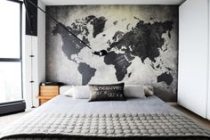 Bedroom Elegant Mens Small Bedroom Decorating Ideas Contemporary Bedroom With World Map Wall Art Behind Masculine Bedroom Interior Ideas For A Small Room