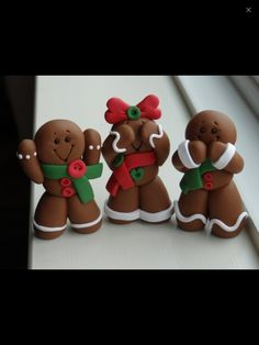 Items similar to Ginger Bread Man Hear no evil, See no evil, Speak no evil Clay set on Etsy Polymer Clay Ornaments, Fimo Clay, Polymer Clay Projects, Polymer Clay Creations, Jumping Clay, Christmas Gingerbread, Christmas Crafts, Xmas, Gingerbread Crafts