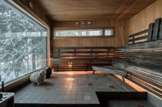 I don't normally like saunas with windows--this is an exception. Home Spa Room, Spa Rooms, Sauna House, Sauna Room, Outdoor Sauna, Outdoor Retreat, Saunas, Piscina Spa, Sauna Heater