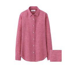 WOMEN Premium Linen Long Sleeve Shirt - Red