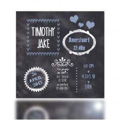 Geboortekaartje Timothy (incl. envelop) krijtbord schoolbord www.popsjesenco.com