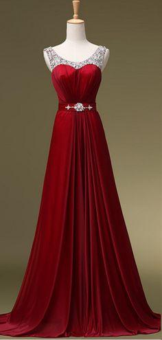 Prom Dress Beaded Scoop Neckline Long Chiffon Evening Dress