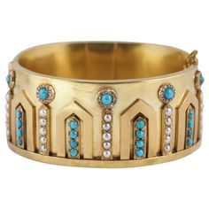Victorian Gem set Cuff Bangle | From a unique collection of vintage cuff bracelets at http://www.1stdibs.com/jewelry/bracelets/cuff-bracelets/