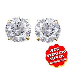 0.66 Ct Round Cut D/VVS1 14K Yellow Gold Over Solitaire Stud Earrings by JewelryHub on Opensky