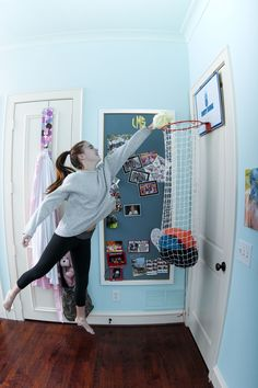 Such a fun gift for sporty girls! A classic basketball hoop that acts as a laundry hamper - genius! Moms love it too ;) thedunkcollection.com