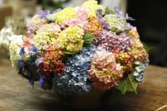 pink hydrangea, blue hydrangea, green hydrangea