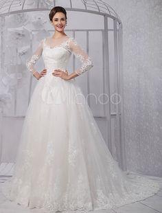 Vestido de noiva  de Gola redonda Com Cauda Com renda De renda(O Véu não inclui)