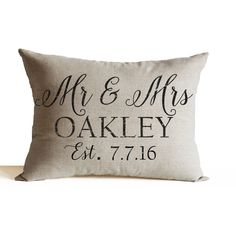 Personalized Mr Mrs Pillow -Wedding Decor Pillow -Anniversary Pillow... (1,650 INR) via Polyvore featuring home, home decor, throw pillows, lumbar throw pillow, personalized throw pillows, valentine home decor and personalized home decor