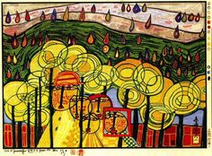 Hundertwasser, Friedensreich - The rain falls far from us