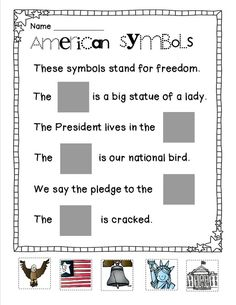 american symbols activities for kindergarten Kindergarten Social Studies, Social Studies Worksheets, Social Studies Activities, Kindergarten Lessons, Teaching Social Studies, Student Teaching, Teaching Resources, National Symbols Kindergarten, Teaching Ideas