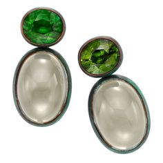 HEMMERLE A Pair of Tourmaline and Moonstone Ear Clips. Perfect- that is all!!