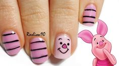 Disney Winnie the poo inspired nails. Nail art of piglet! Easy and cute. Love it.