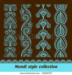 Find Ornamental Seamless Borders Vector Set Abstract stock images in HD and millions of other royalty-free stock photos, illustrations and vectors in the Shutterstock collection. Thousands of new, high-quality pictures added every day. Lace Painting, Mandala Painting, Dot Painting, Mandala Art, Henna Doodle, Henna Art, Rangoli Designs, Henna Designs, Zentangle Patterns