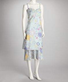 Take a look at this Blue & Yellow Floral Dress by Papillon Imports on #zulily today!