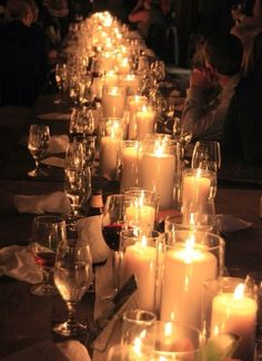 Candlelight tablescape -- hmmm just lots and lots of candles? Wedding Night, Fall Wedding, Our Wedding, Dream Wedding, Wedding Reception Decorations, Wedding Centerpieces, Wedding Table, Floral Decorations, Candle Centerpieces