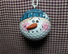 Hand Painted Golf Ball Snowman Ornament
