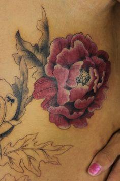 peony tattoo - I like the very fine black line work of this one