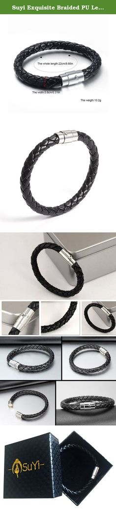 Suyi Exquisite Braided PU Leather Black Bracelet with Locking Stainless Steel Magnetic Clasp 2Pcs. Description: - Made by high quality leather material. - Light and comfortable to wear. - The nice bracelet shows your unique personality and special taste. - It can not only be a beautiful personal wearing, but also a fine present for birthday or holidays like Valentine's day, Thanks giving day. Jewelry maintenance: 1. Gently, avoid collisions and friction. 2. Avoid contact with high...