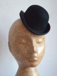 Felt Mini Bowler Hat   Black by simplysilverbyheena on Etsy, $27.00