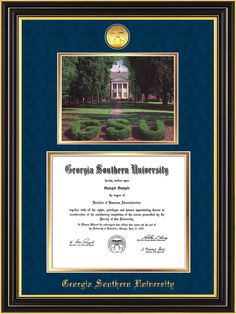 Georgia Southern U-Diploma Frame-Satin Black-Photo-Navy Suede on Gold – Professional Framing Company