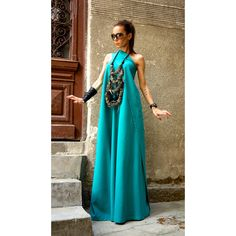 Hot Summer Maxi Dress Pine Green Linen Dress One Shoulder Kaftan Dress... ($99) ❤ liked on Polyvore featuring dresses, black, women's clothing, summer dresses, long wrap dress, maxi dresses, plus size party cocktail dresses and plus size dresses