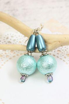 Blue Pearl Earrings Blue Pearl Dangles Sky Blue by TrinketHouse