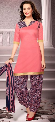 USD 20.13 Salmon Cotton Patiala Salwar Kameez 43461