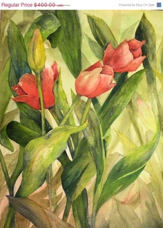 Red Tulip Flower Painting Original Floral Watercolor Fine Art 12 x 16CIJ Sale 20% OffCIJ SaleCIJ Sale CIJ Sale. $320.00, via Etsy.