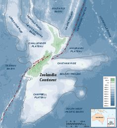 A group of scientists has made an amazing discovery of a hidden continent named Zealandia, a nearly submerged continental fragment discovered in the southwest of the Pacific Ocean. Pacific Ocean, New Zealand Earthquake, Nature Company, Chatham Islands, Historical Maps, South Island, Earth Science, Occult, Continents