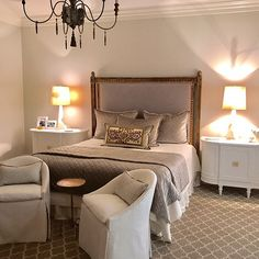 This Master Bedroom is one of my favorites. French glided bed, the linen is crypton by Fabricut. Night stands custom built designed by #afterfivedesigns can be custom to any size, bedding is @lili_alessandra lumbar a antique vestment purchased from my picker in Italy. Lamps are @visualcomfortco Accessories from @bellaches @interiorspacesms chairs from @shopsummerhouse swipe for more pictures
