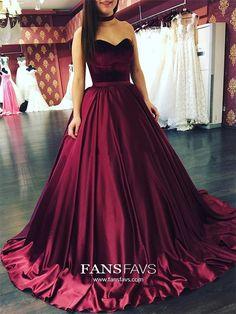 Burgundy Prom Dresses Long, Ball Gown Prom Dresses Sweetheart, Satin Prom Dresses Quinceanera, Modest Prom Dresses Elegant #FansFavs #burgundydress #ballgowns #vintagedress