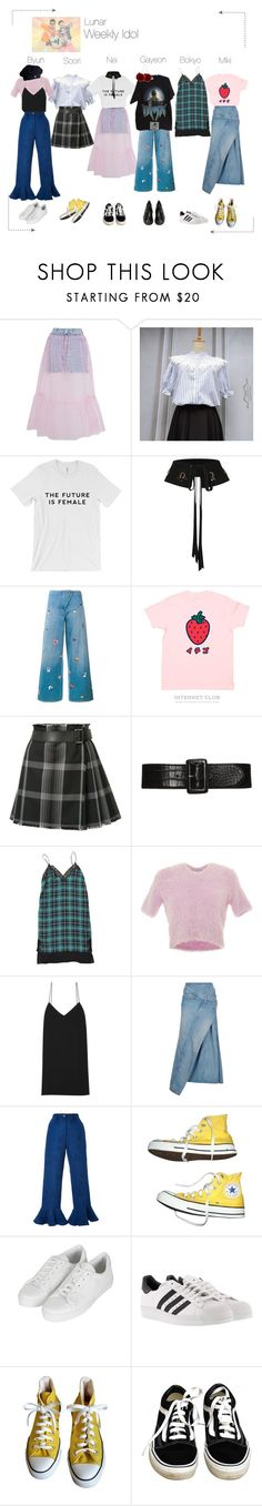 """Lunar (루나) Weekly Idol"" by lunar-official ❤ liked on Polyvore featuring Topshop, Dorothee Schumacher, Christopher Kane, Alexander McQueen, Sandro, Carven, The Row, Junya Watanabe, Christina Economou and Converse"