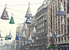 December and holiday decorations Large Lanterns, Bucharest, Holiday Decorations, My Photos, December, Street View, City, Tall Lanterns, Cities