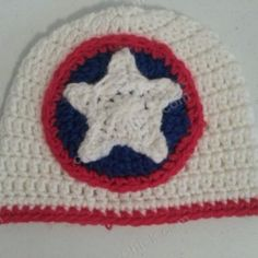 Captain America Superhero Shield Logo Inspired Beanie Hat ~ free pattern