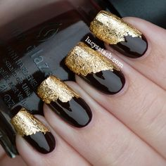 black with gold foil nail tips