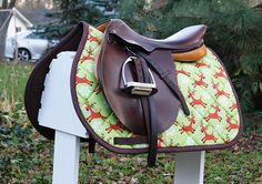 Ready to Ship - Rudolf and Reindeer Friends Christmas Green and Brown Close Contact Saddle Pad