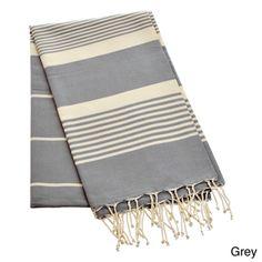Authentic Fouta Natural Cotton Thin White Striped Bath & Beach Towel (Tunisia) By Berber Decor | Overstock.com