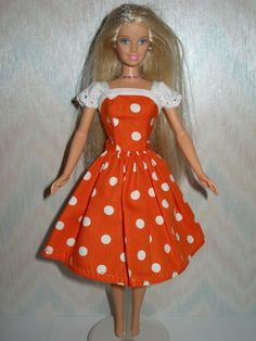 Handmade Barbie clothes  orange and white by TheDesigningRose, $8.00