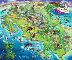 Illustrated Map shows the most popular tourist distinctions of Costa Rica