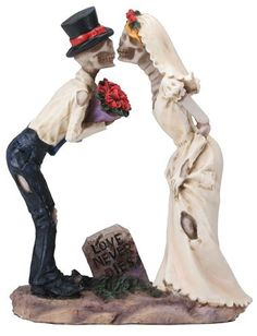 Halloween Bride and Groom Love Never Dies Gothic Wedding Cake Toppers-Hand Painted Couple Romantic Skeleton Lovers Kiss Skull Wedding Cakes, Gothic Wedding Cake, Halloween Wedding Cakes, Halloween Bride, Wedding Kiss, Theme Halloween, Wedding Cake Toppers, Wedding Couples, Diy Halloween