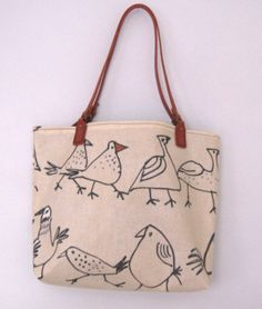 Handmade tote bag  birds oilcloth  handbag  by dollywhatnot, £35.00