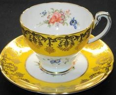 Hammersley SIGNED Flower Yellow   Tea cup and saucer