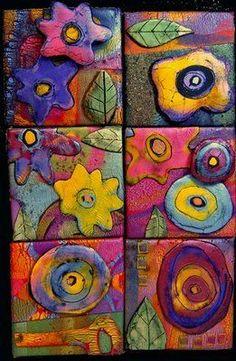"""Gerda Scott Chandler's """"Garden in Bloom"""" Polymer Clay Tile Assemblage"""
