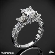 Verragio Bead-Set Princess 3 Stone Engagement Ring